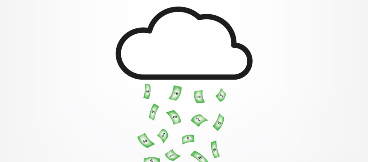 Money raining from cloud